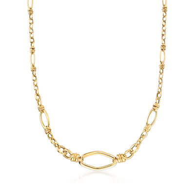 Italian Textured and Polished Link Necklace in 14kt Yellow Gold, , default