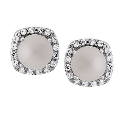 Mother-Of-Pearl and .16 ct. t.w. CZ Halo Earrings in Sterling Silver