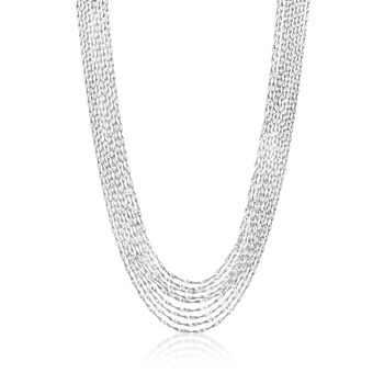 Italian Sterling Silver Twisted Multi-Strand Necklace, , default