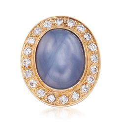 C. 1970 Vintage 16.00 Carat Certified Gray Star Sapphire and 1.10 ct. t.w. Diamond Pin in 14kt Yellow Gold, , default