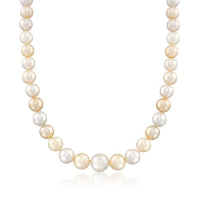 C. 2000 Vintage 9-11mm Champagne Cultured Pearl Necklace with Diamond Accents in 18kt White Gold, , default