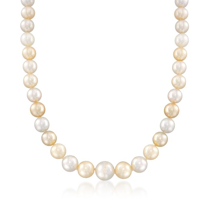 C. 2000 Vintage 9-11mm Champagne Cultured Pearl Necklace with Diamond Accents in 18kt White Gold