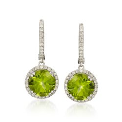 5.75 ct. t.w. Peridot and .50 ct. t.w. Diamond Hoop Drop Earrings in 14kt White Gold, , default