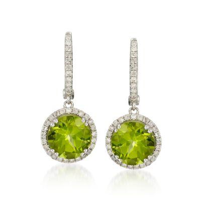 5.75 ct. t.w. Peridot and .50 ct. t.w. Diamond Hoop Drop Earrings in 14kt White Gold, , default