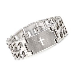"Men's Stainless Steel ""Lord's Prayer"" Link Bracelet. 8.5"", , default"