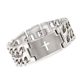 "Men's Stainless Steel ""Lord's Prayer"" Link Bracelet. 8.5"", , default"
