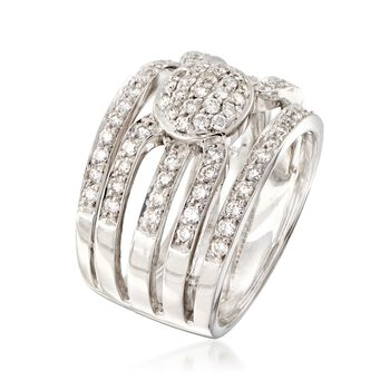 C. 1990 Vintage 1.15 ct. t.w. Diamond Multi-Row Ring in 18kt White Gold. Size 7.5, , default