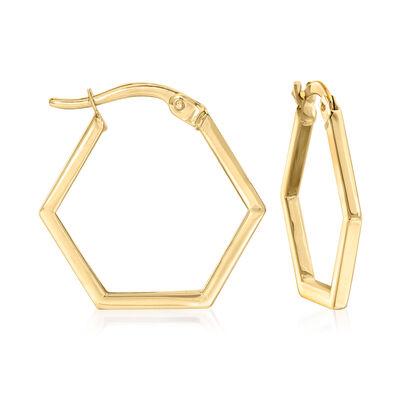 14kt Yellow Gold Hexagon Hoop Earrings