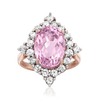 8.25 ct. t.w. Kunzite and 2.40 ct. t.w. White Zircon Ring in 18kt Rose Gold Over Sterling Silver, , default