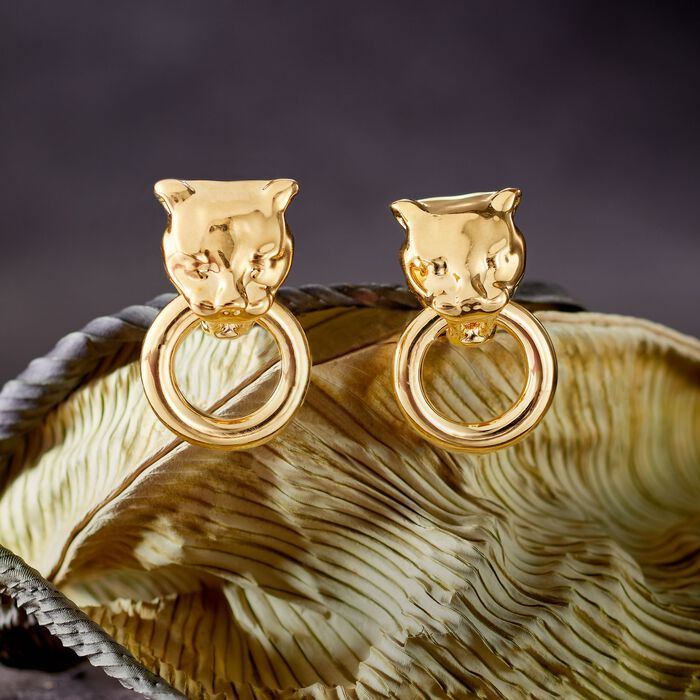 Andiamo 14kt Yellow Gold Panther Head Doorknocker Earrings