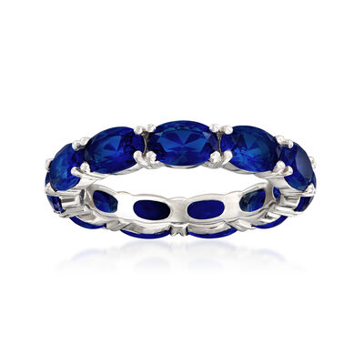 5.00 ct. t.w. Simulated Sapphire Eternity Ring in Sterling Silver, , default
