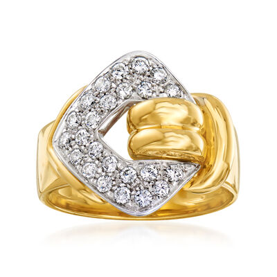 C. 1990 Vintage .60 ct. t.w. Diamond Buckle Ring in 18kt Two-Tone Gold