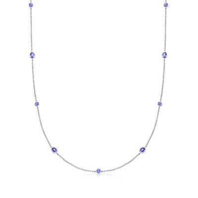 2.45 ct. t.w. Tanzanite Station Necklace in Sterling Silver
