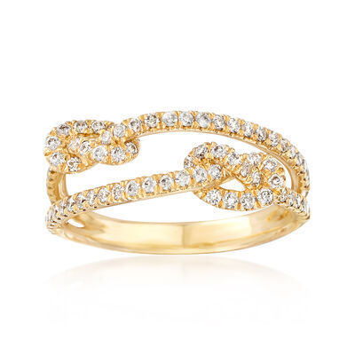 Gabriel Designs .45 ct. t.w. Diamond Double Knot Ring in 14kt Yellow Gold, , default