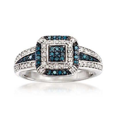 .49 ct. t.w. Pave Blue and White Diamond Ring in Sterling Silver