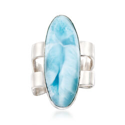Oval Larimar Square-Shank Ring in Sterling Silver, , default