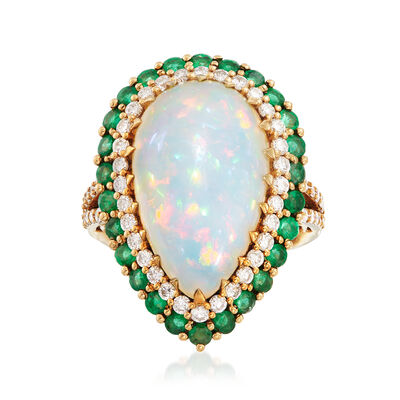 Opal, 1.00 ct. t.w. Emerald and 1.00 ct. t.w. Diamond Ring in 18kt Yellow Gold, , default