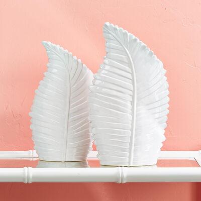Set of Two White Ceramic Palm Leaf Vases, , default