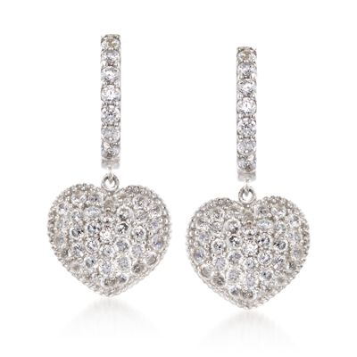 .30 ct. t.w. CZ Heart Drop Earrings in Sterling Silver, , default