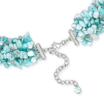 """5-6mm Cultured Blue Pearls and 3-8mm Larimar Torsade Necklace with Sterling Silver. 18"""""""