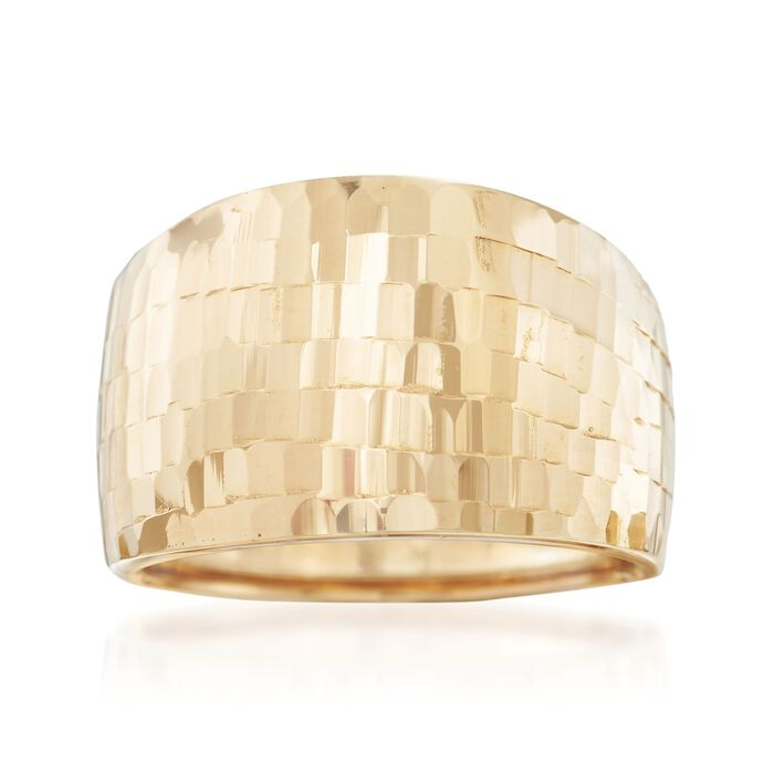 Italian 18kt Yellow Gold Wide Tile Patterned Ring. Size 5, , default