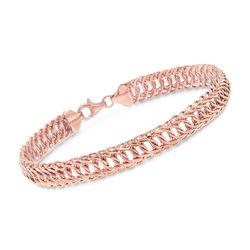18kt Rose Gold Oval-Link Bracelet, , default