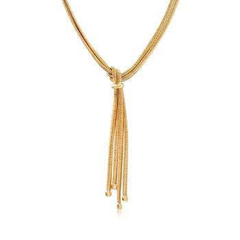 """Italian 18kt Yellow Gold Over Sterling Silver Two-Strand Tassel Necklace. 18"""", , default"""