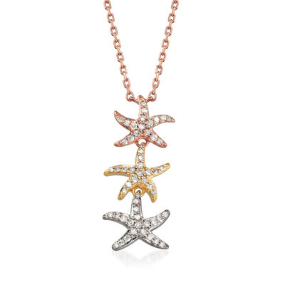 .20 ct. t.w. Pave Diamond Starfish Necklace in Tri-Colored Sterling Silver, , default