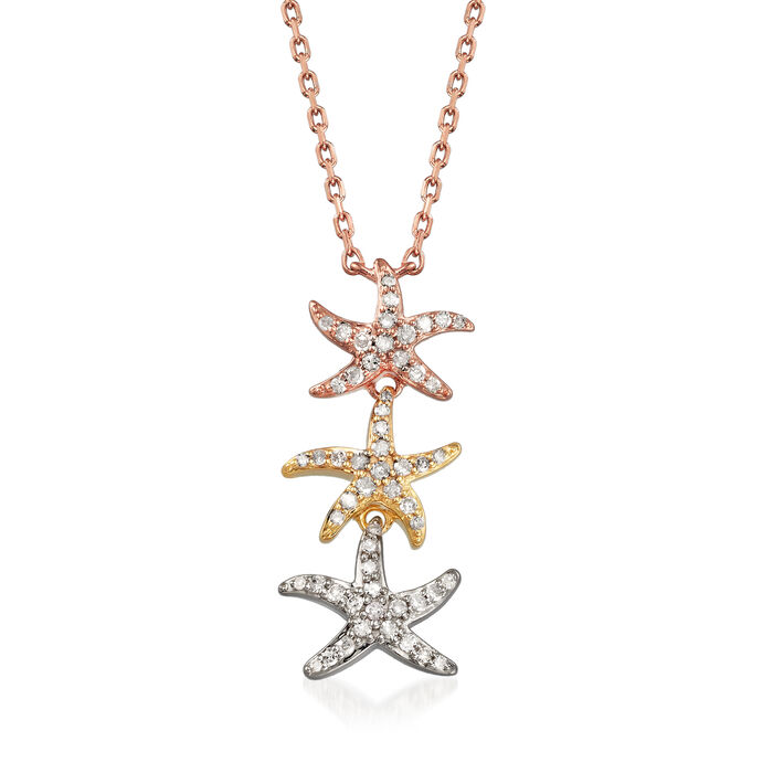 .20 ct. t.w. Pave Diamond Starfish Necklace in Tri-Colored Sterling Silver