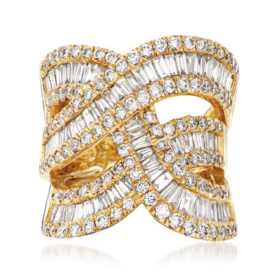 3.75 ct. t.w. Round and Baguette Diamond Highway Ring in 14kt Yellow Gold
