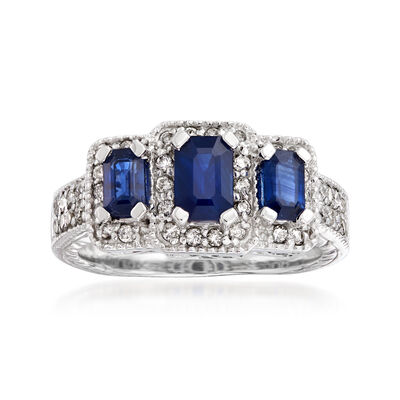 1.60 ct. t.w. Sapphire and .52 ct. t.w. Diamond Three-Stone Ring in 14kt White Gold