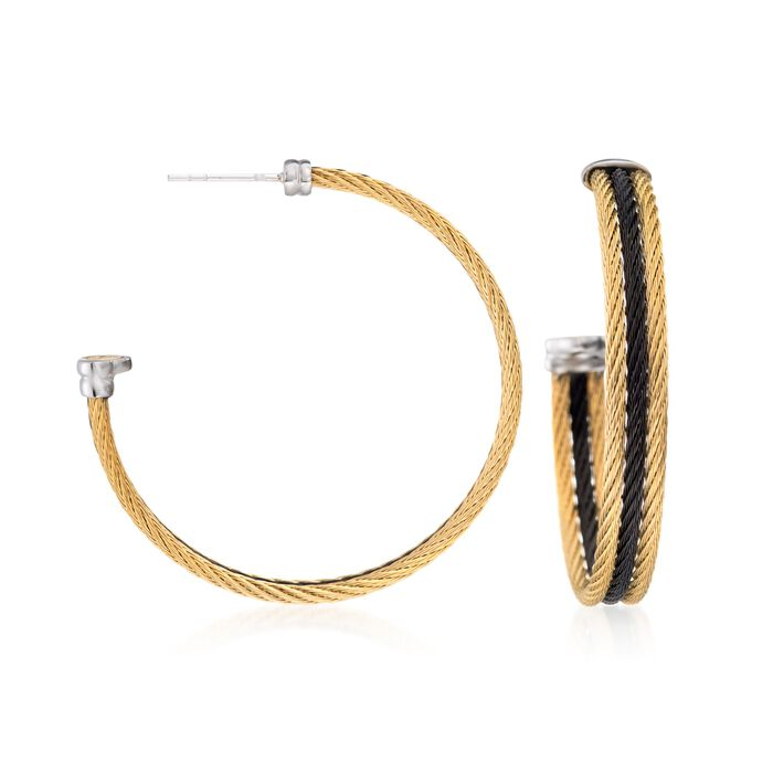 "ALOR ""Noir"" Yellow and Black Stainless Steel Cable Hoop Earrings with 18kt White Gold. 1 5/8"", , default"