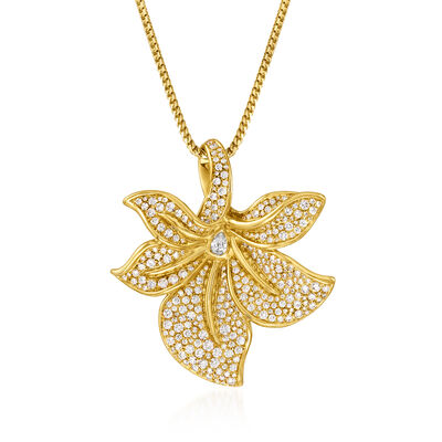 C. 1990 Vintage Kat Florence 3.40 ct. t.w. Diamond Flower Pendant Necklace in 18kt Yellow Gold