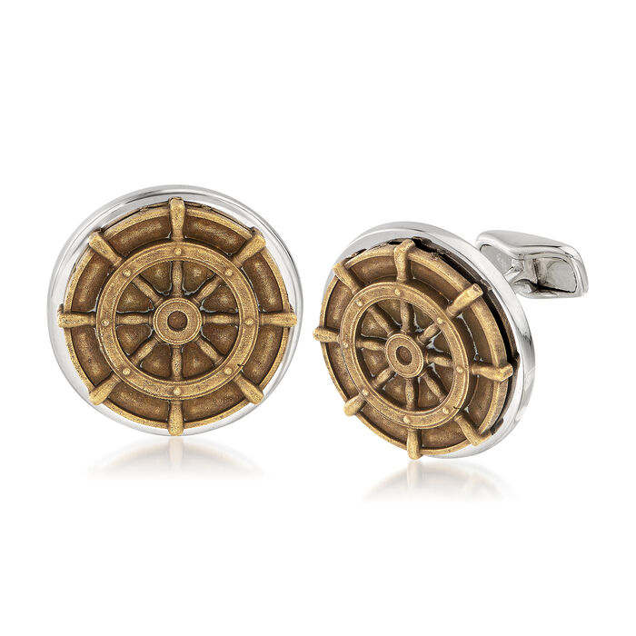 Men's Ship Wheel Coin Cuff Links in Sterling Silver, , default