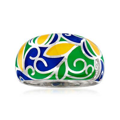 Multicolored Enamel Swirl Ring in Sterling Silver