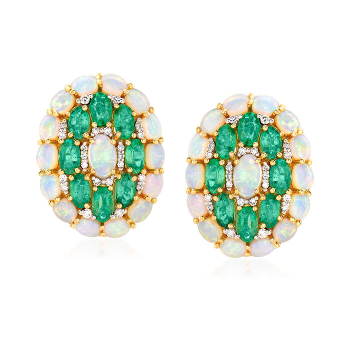 Opal, 3.50 ct. t.w. Emerald and .30 ct. t.w. Diamond Earrings in 18kt Yellow Gold
