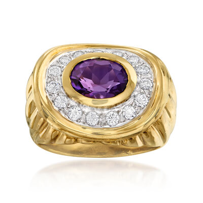 C. 1980 Vintage 1.50 Carat Amethyst and .50 ct. t.w. Diamond Ring in 18kt Yellow Gold
