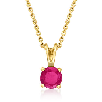 .60 Carat Ruby Pendant Necklace in 14kt Yellow Gold