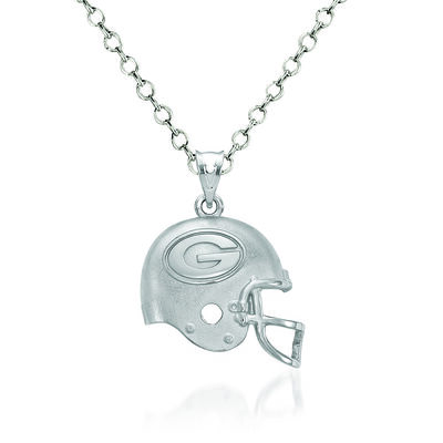 "Sterling Silver Green Bay Packers Football Helmet Logo Pendant Necklace. 18"", , default"