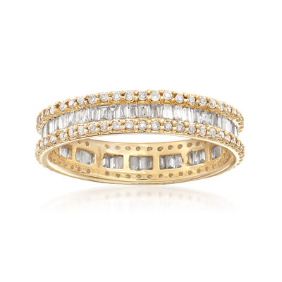 1.00 ct. t.w. Baguette and Round Diamond Eternity Ring in 14kt Yellow Gold