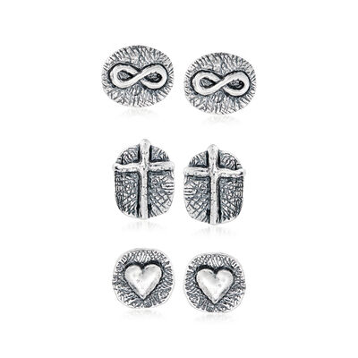 Sterling Silver Jewelry Set: Three Pairs of Symbolic Stud Earrings
