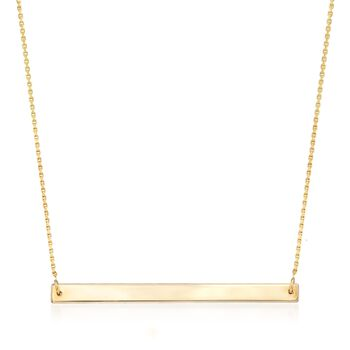 "14kt Yellow Gold Horizontal Bar Necklace. 16"", , default"