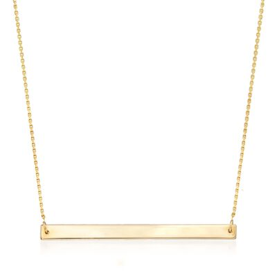 14kt Yellow Gold Horizontal Bar Necklace, , default