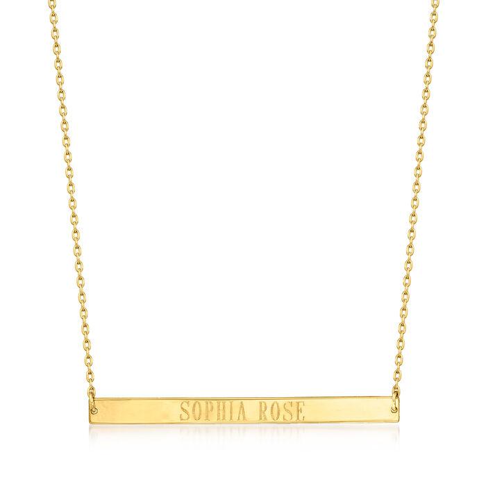 "14kt Yellow Gold Horizontal Bar Necklace. 16"", , default"