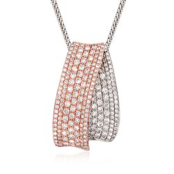 "Simon G. 1.55 ct. t.w. Diamond Pendant Necklace in 18kt Two-Tone Gold. 18"", , default"