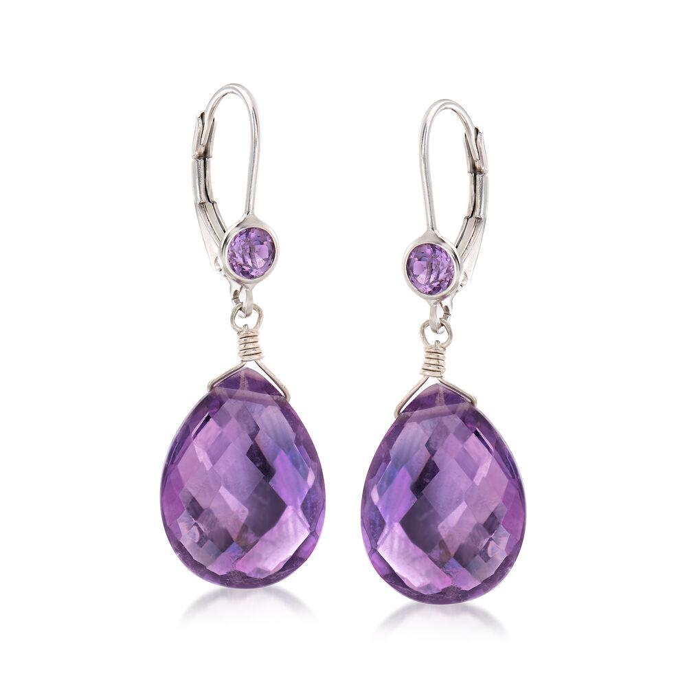 T W Amethyst Drop Earrings In Sterling Silver Default