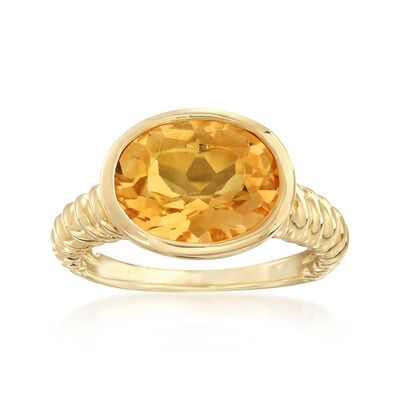 4.50 Carat Oval Citrine Ring in 18kt Gold Over Sterling