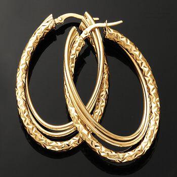 """Italian 14kt Yellow Gold Triple Hoop Earrings. 1 3/4"""""""