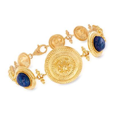 Italian 10mm Lapis and Greek Key Bracelet in 18kt Gold Over Sterling, , default