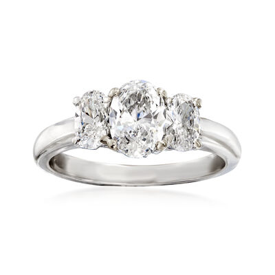 C. 2000 Vintage 1.48 ct. t.w. Diamond Three-Stone Ring in 14kt White Gold, , default